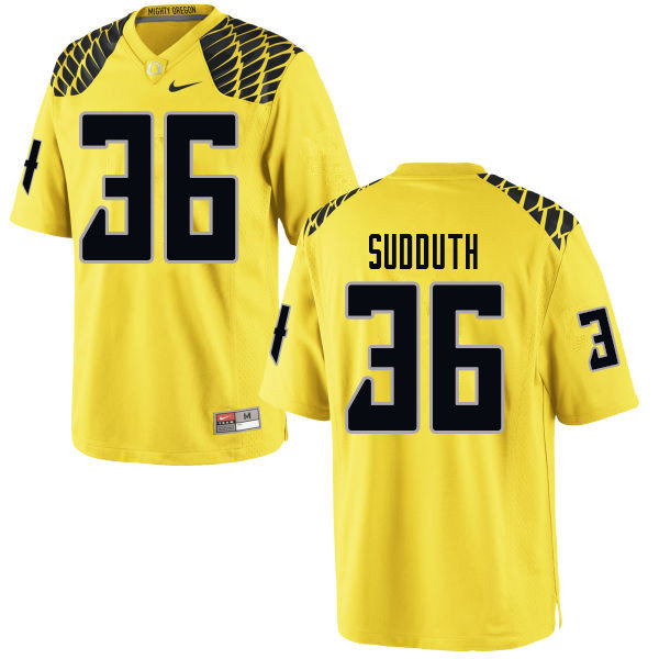 Men #36 Charles Sudduth Oregn Ducks College Football Jerseys Sale-Yellow
