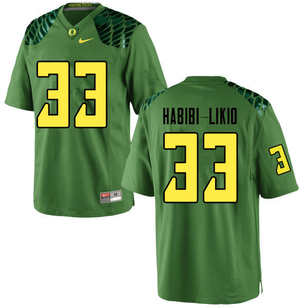 Men #33 Cyrus Habibi-Likio Oregn Ducks College Football Jerseys Sale-Apple Green