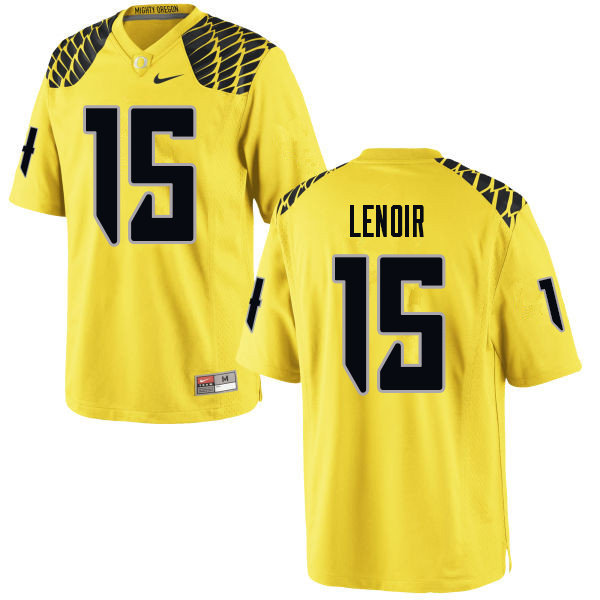 Men #15 Deommodore Lenoir Oregn Ducks College Football Jerseys Sale-Yellow