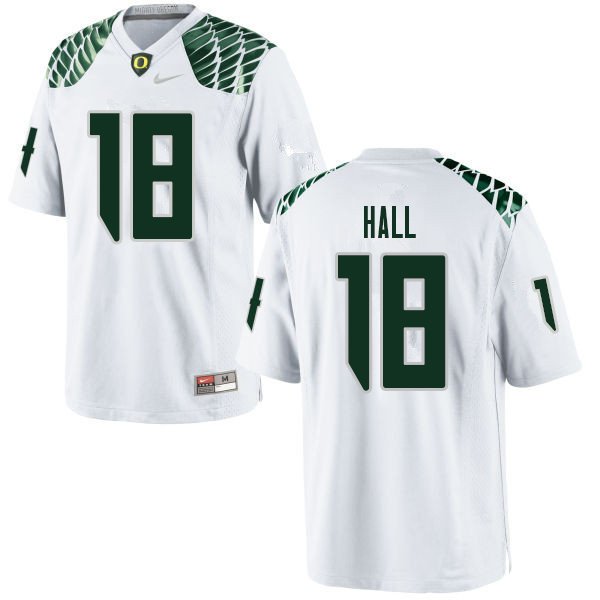 Men #18 Jalen Hall Oregn Ducks College Football Jerseys Sale-White