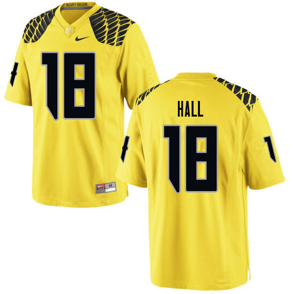 Men #18 Jalen Hall Oregn Ducks College Football Jerseys Sale-Yellow
