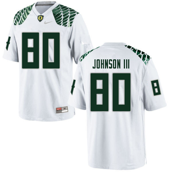 Men #80 Johnny Johnson III Oregn Ducks College Football Jerseys Sale-White