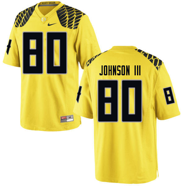 Men #80 Johnny Johnson III Oregn Ducks College Football Jerseys Sale-Yellow
