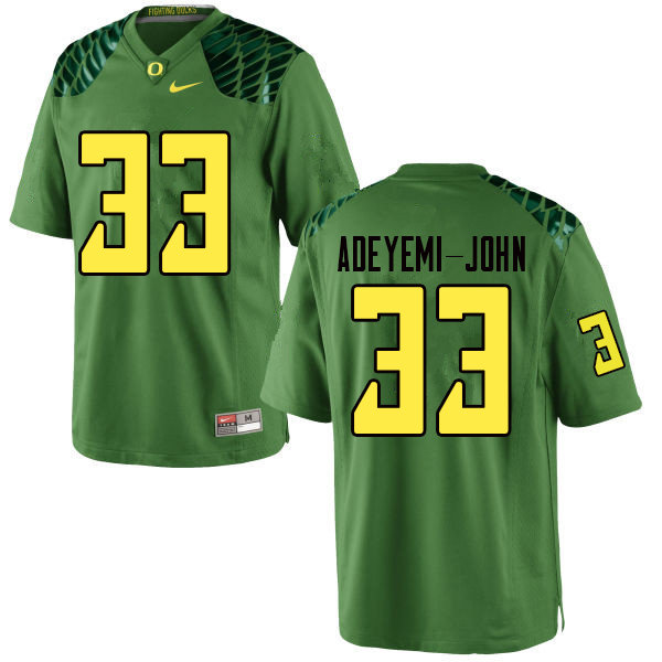 Men #33 Jordan Adeyemi-John Oregn Ducks College Football Jerseys Sale-Apple Green