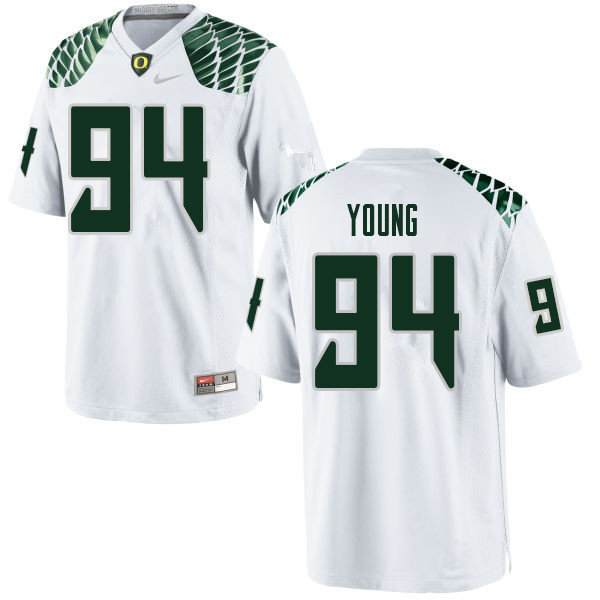 Men #94 Malik Young Oregn Ducks College Football Jerseys Sale-White