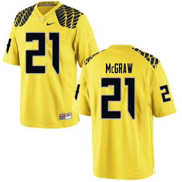 Men #21 Mattrell McGraw Oregn Ducks College Football Jerseys Sale-Yellow