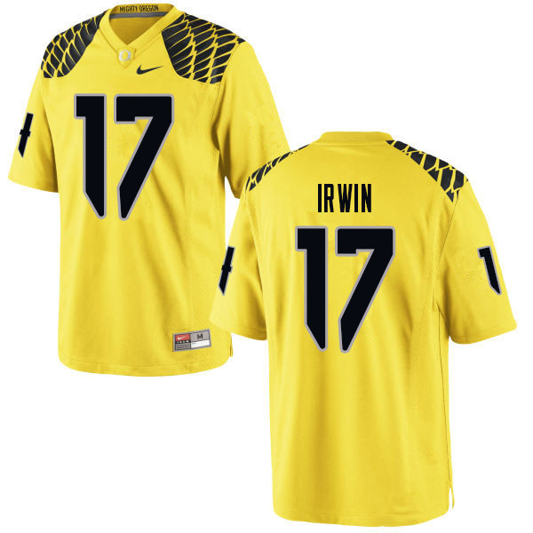 Men #17 Mike Irwin Oregn Ducks College Football Jerseys Sale-Yellow