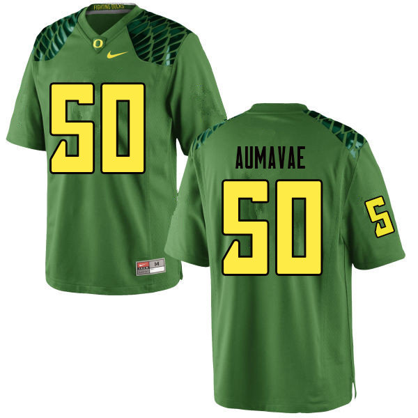 Men #50 Popo Aumavae Oregn Ducks College Football Jerseys Sale-Apple Green