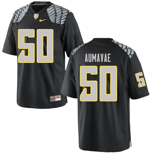 Men #50 Popo Aumavae Oregn Ducks College Football Jerseys Sale-Black