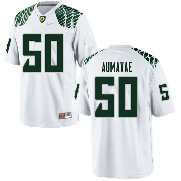 Men #50 Popo Aumavae Oregn Ducks College Football Jerseys Sale-White