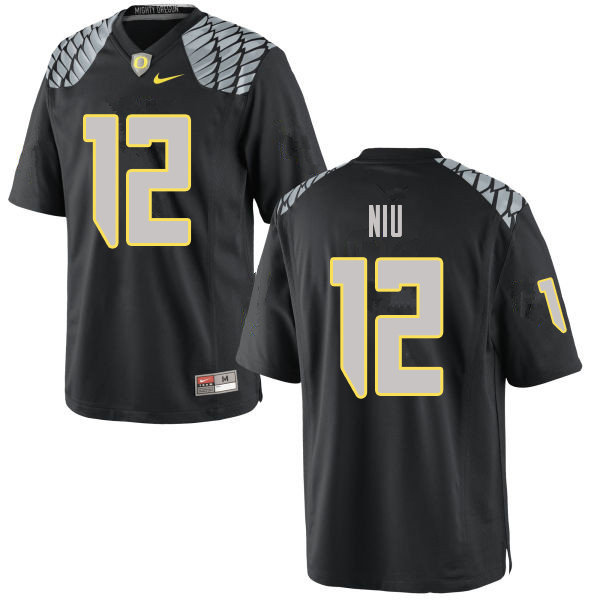 Men #12 Sampson Niu Oregn Ducks College Football Jerseys Sale-Black