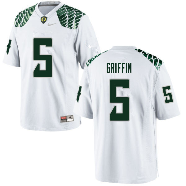 Men #5 Taj Griffin Oregn Ducks College Football Jerseys Sale-White