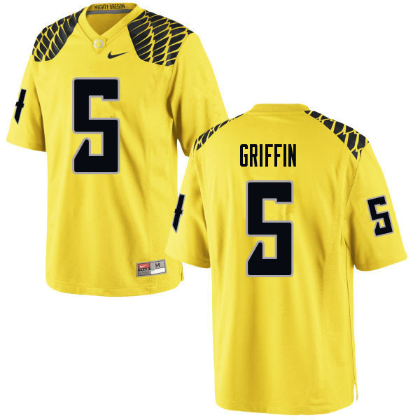 Men #5 Taj Griffin Oregn Ducks College Football Jerseys Sale-Yellow