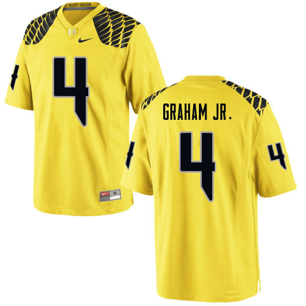 Men #4 Thomas Graham Jr. Oregn Ducks College Football Jerseys Sale-Yellow