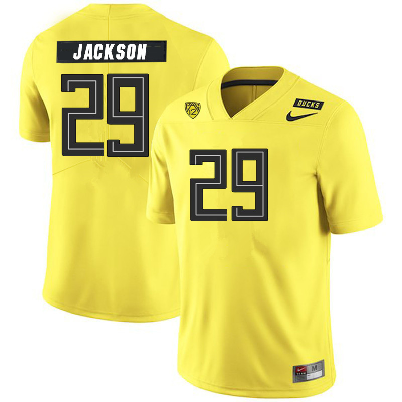 2019 Men #29 Adrian Jackson Oregon Ducks College Football Jerseys Sale-Yellow