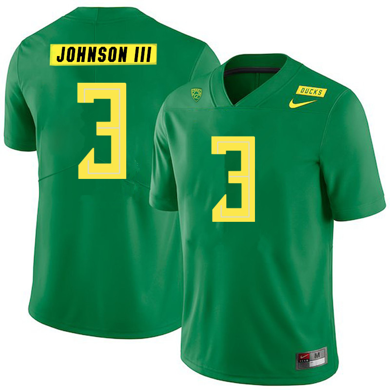 2019 Men #3 Johnny Johnson III Oregon Ducks College Football Jerseys Sale-Green