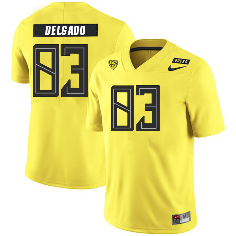 2019 Men #83 Josh Delgado Oregon Ducks College Football Jerseys Sale-Yellow