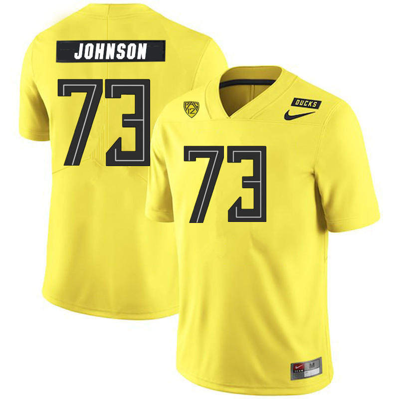 2019 Men #73 Justin Johnson Oregon Ducks College Football Jerseys Sale-Yellow