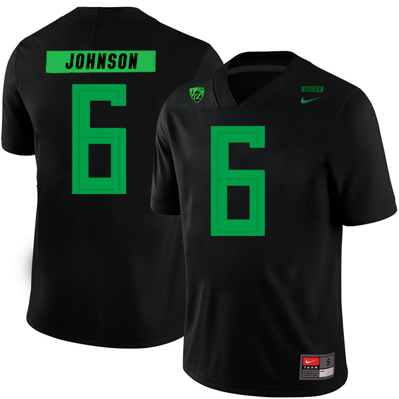 2019 Men #6 Juwan Johnson Oregon Ducks College Football Jerseys Sale-Black