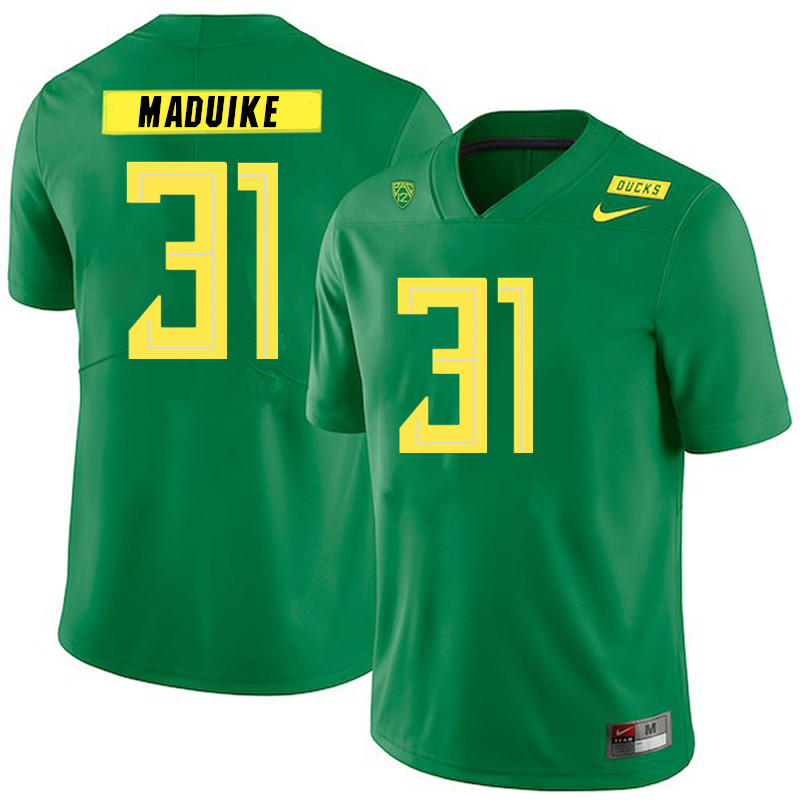 2019 Men #31 KJ Maduike Oregon Ducks College Football Jerseys Sale-Green
