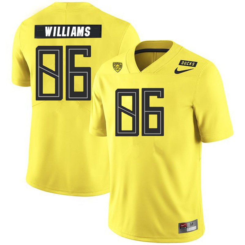 2019 Men #86 Korbin Williams Oregon Ducks College Football Jerseys Sale-Yellow