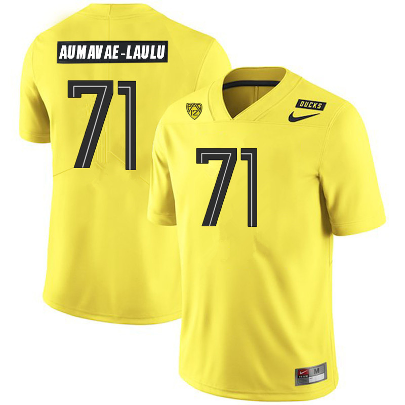 2019 Men #71 Malaesala Aumavae-Laulu Oregon Ducks College Football Jerseys Sale-Yellow
