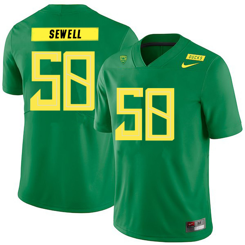 2019 Men #58 Penei Sewell Oregon Ducks College Football Jerseys Sale-Green