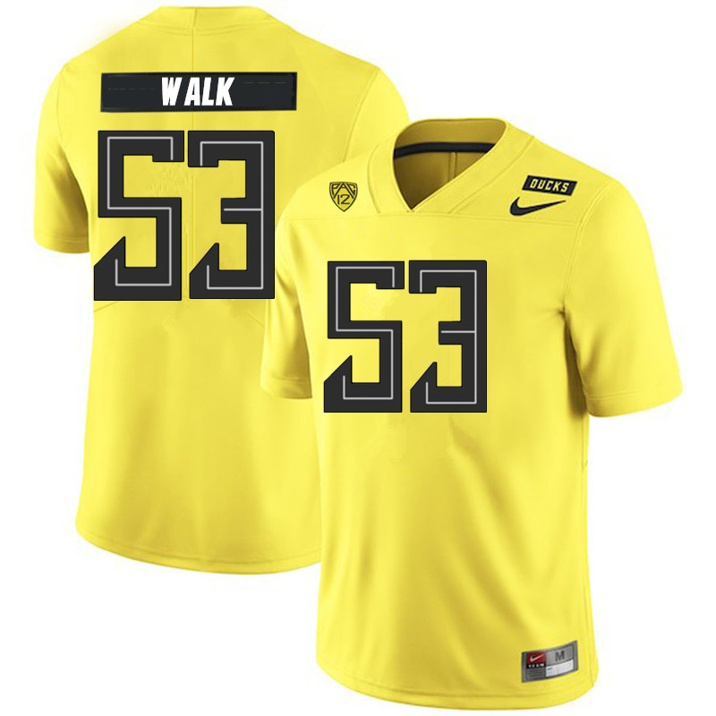 2019 Men #53 Ryan Walk Oregon Ducks College Football Jerseys Sale-Yellow