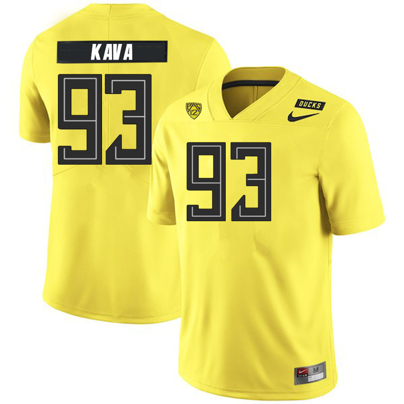 2019 Men #93 Sione Kava Oregon Ducks College Football Jerseys Sale-Yellow