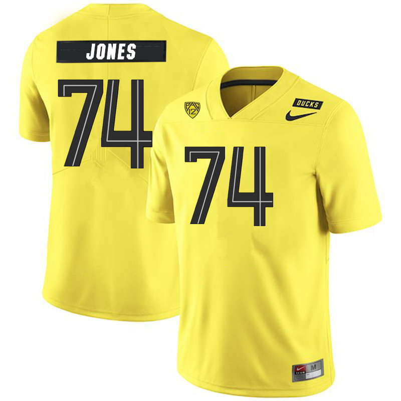 2019 Men #74 Steven Jones Oregon Ducks College Football Jerseys Sale-Yellow
