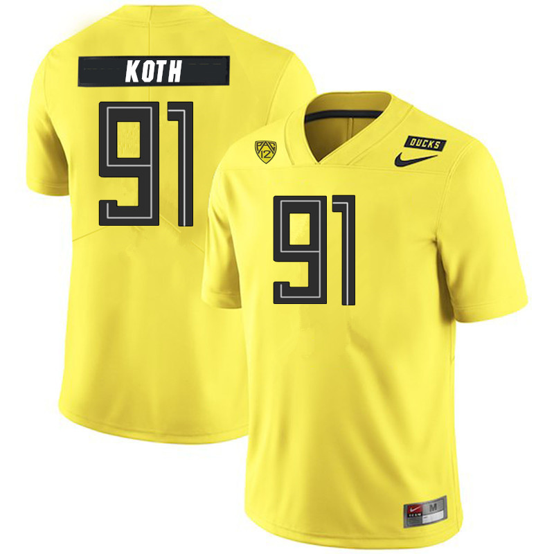 2019 Men #91 Taylor Koth Oregon Ducks College Football Jerseys Sale-Yellow