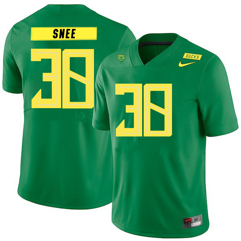 2019 Men #38 Tom Snee Oregon Ducks College Football Jerseys Sale-Green