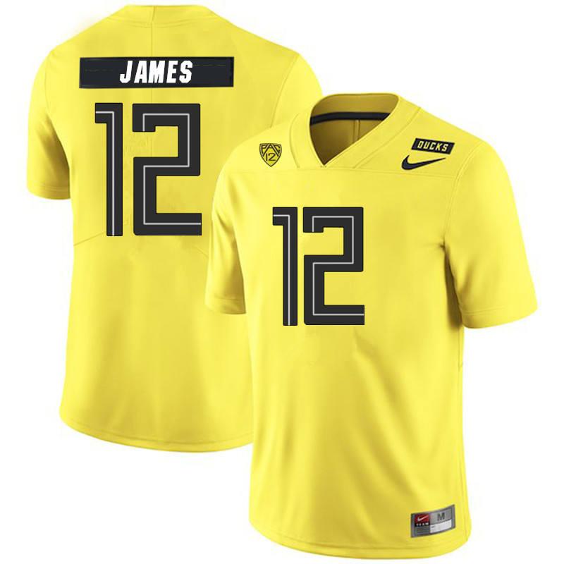 Men #12 DJ James Oregon Ducks College Football Jerseys Sale-Yellow