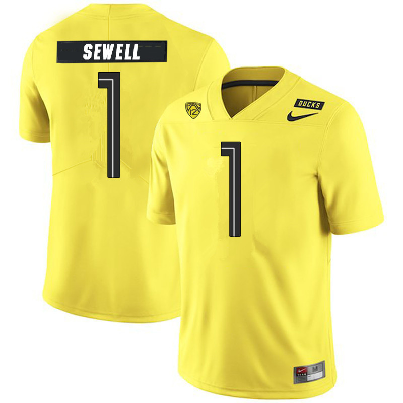 Men #1 Noah Sewell Oregon Ducks College Football Jerseys Sale-Yellow