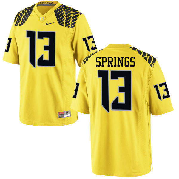 Men #13 Arrion Springs Oregon Ducks College Football Jerseys-Yellow