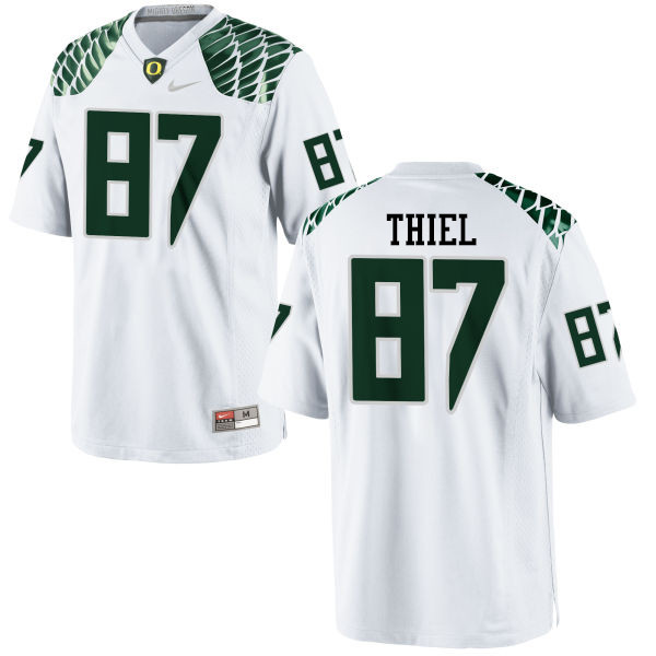 Men #87 Ben Thiel Oregon Ducks College Football Jerseys-White