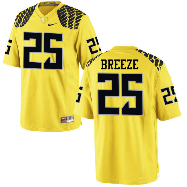 Men #25 Brady Breeze Oregon Ducks College Football Jerseys-Yellow