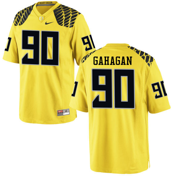 Men #90 Brandon Gahagan Oregon Ducks College Football Jerseys-Yellow