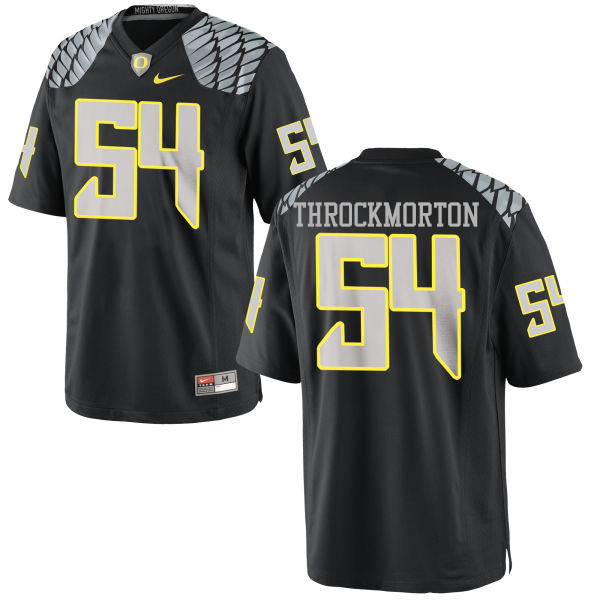 Men #54 Calvin Throckmorton Oregon Ducks College Football Jerseys-Black