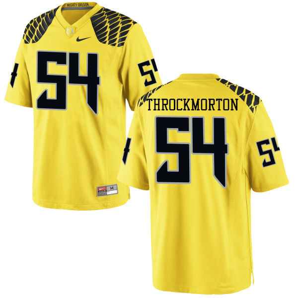 Men #54 Calvin Throckmorton Oregon Ducks College Football Jerseys-Yellow