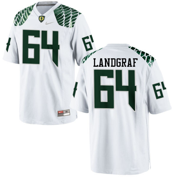 Men #64 Charlie Landgraf Oregon Ducks College Football Jerseys-White