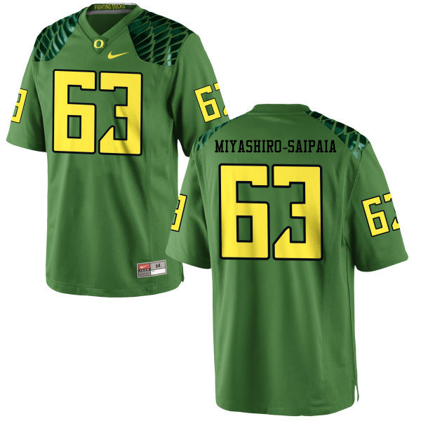 Men #63 Davis Miyashiro-Saipaia Oregon Ducks College Football Jerseys-Apple Green