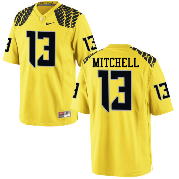 Men #13 Dillon Mitchell Oregon Ducks College Football Jerseys-Yellow