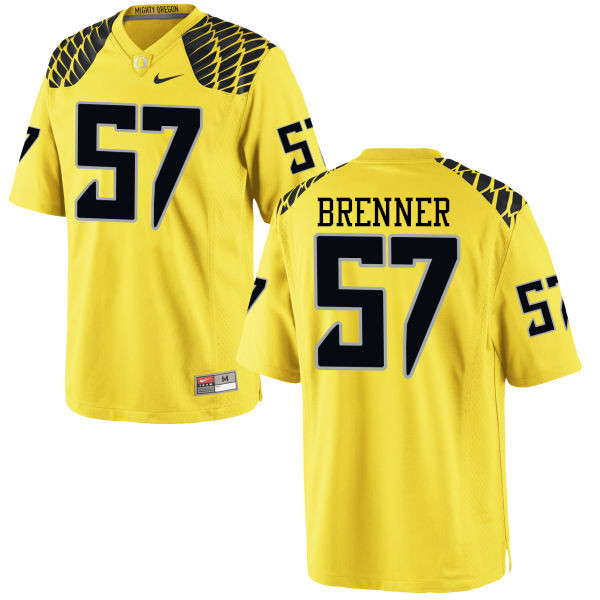 Men #57 Doug Brenner Oregon Ducks College Football Jerseys-Yellow