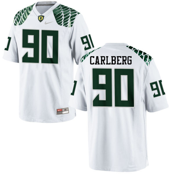 Men #90 Drayton Carlberg Oregon Ducks College Football Jerseys-White