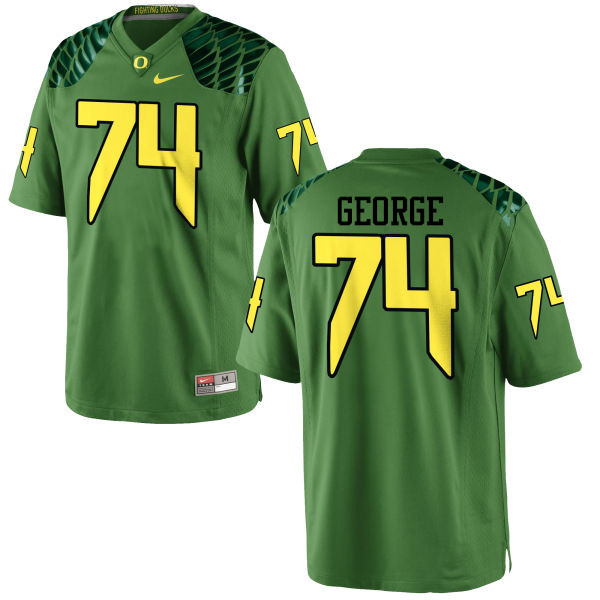 Men #74 Elijah George Oregon Ducks College Football Jerseys-Apple Green