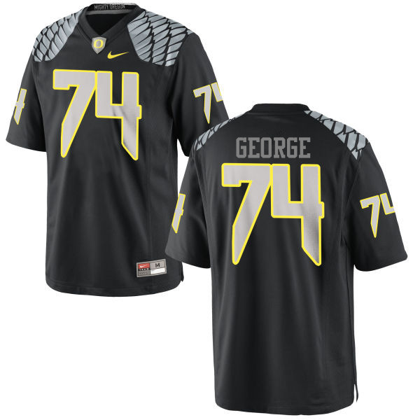 Men #74 Elijah George Oregon Ducks College Football Jerseys-Black