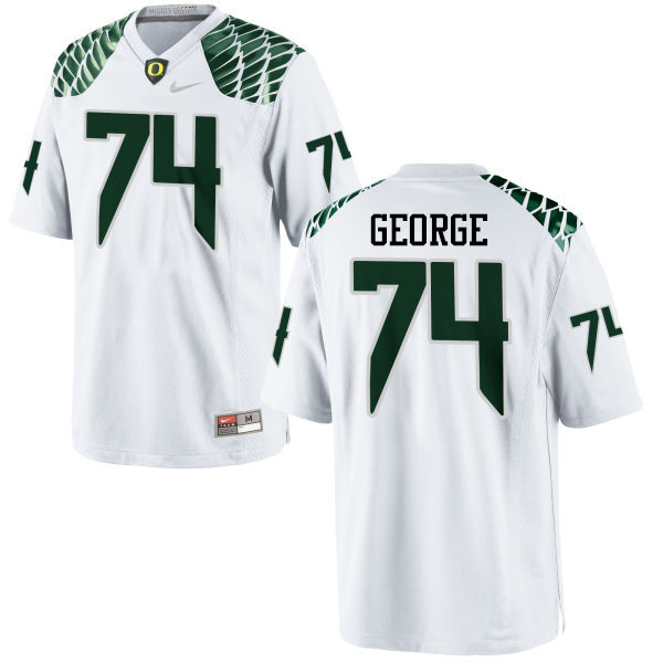 Men #74 Elijah George Oregon Ducks College Football Jerseys-White