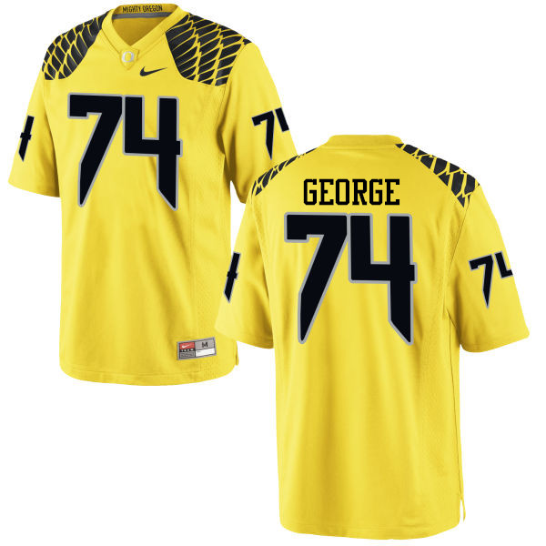 Men #74 Elijah George Oregon Ducks College Football Jerseys-Yellow