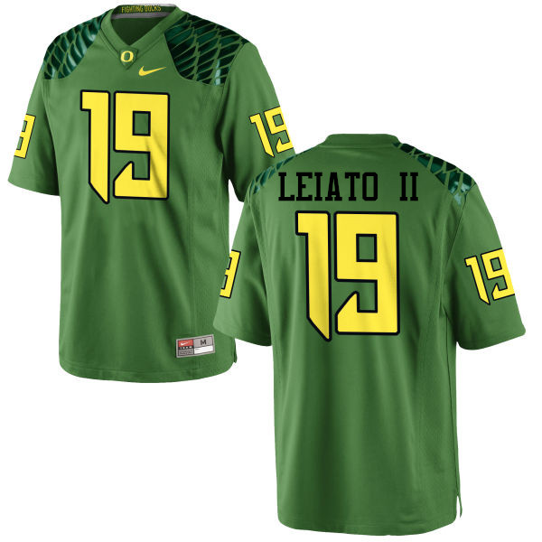 Men #19 Fotu T. Leiato II Oregon Ducks College Football Jerseys-Apple Green